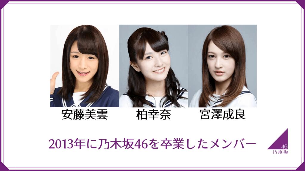 2013年に乃木坂46を卒業したメンバー