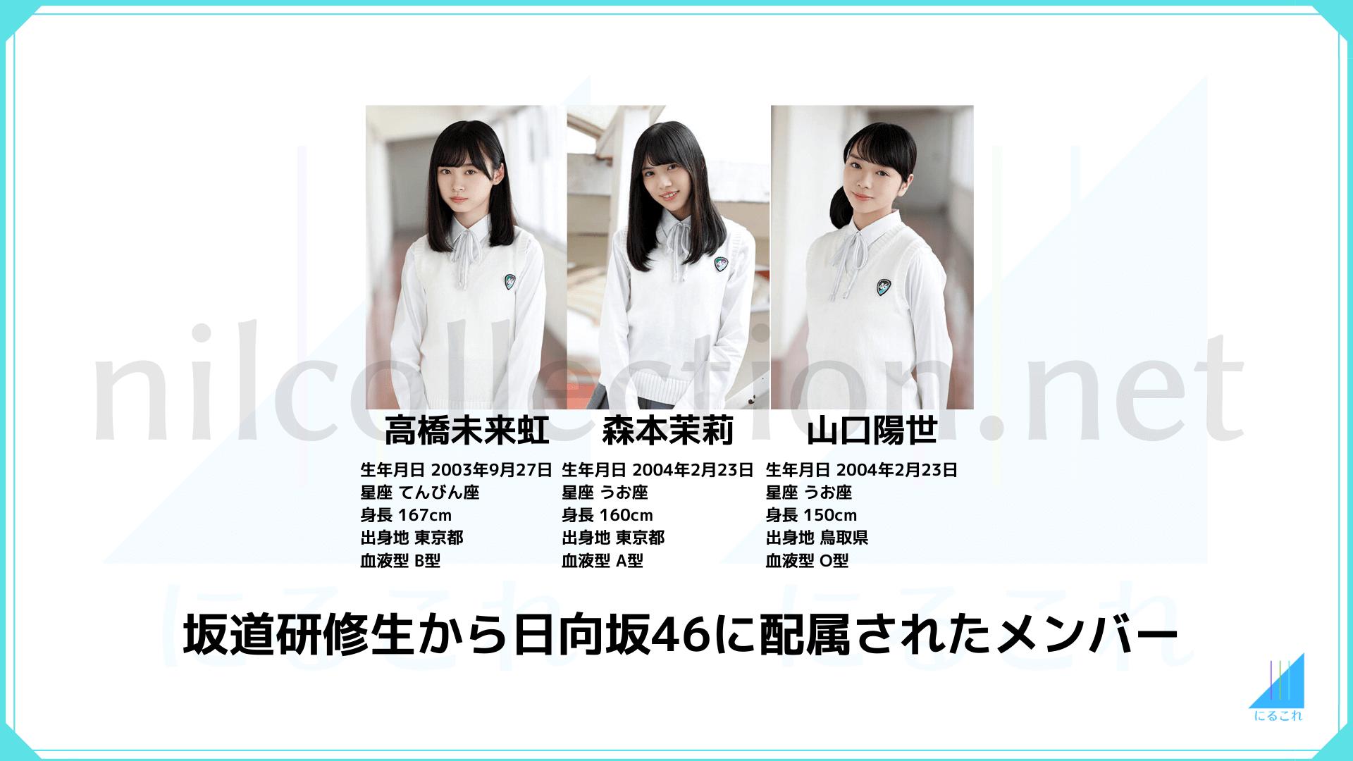 坂道研修生から日向坂46に配属されたメンバー